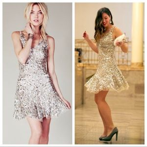 Free People Sequin Shimmy Dress Silver Nude Combo
